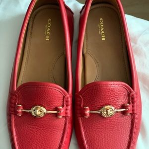 Coach RED leather loafers!! Beautiful!!